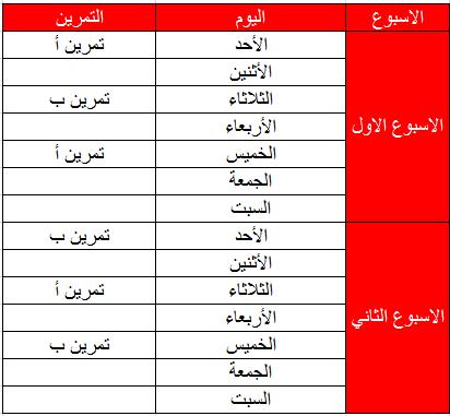 جدول تمرين كمال اجسام